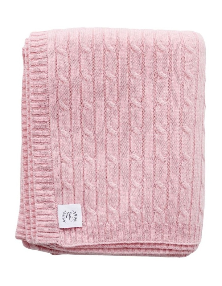 Cashmere Cable Knit Baby Blanket - Blush image 1