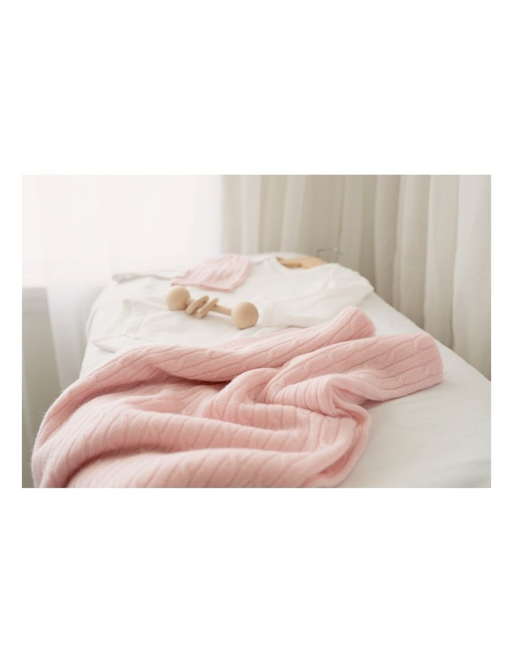 Cashmere Cable Knit Baby Blanket - Blush image 2