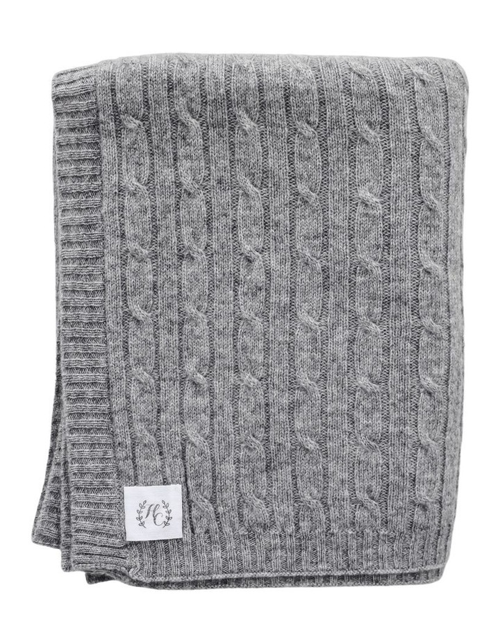 Cashmere Cable Knit Baby Blanket - Ash image 1