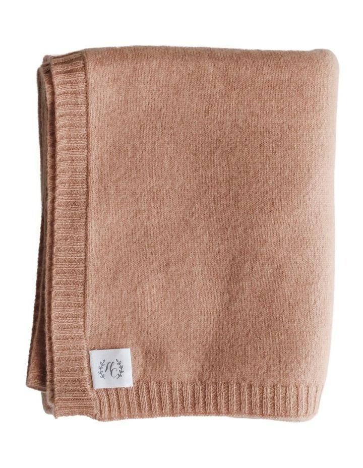 Cashmere Plain Knit Baby Blanket - Cinnamon image 1