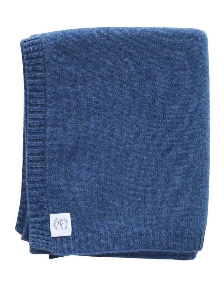 Cashmere Plain Knit Baby Blanket - Indigo image 1