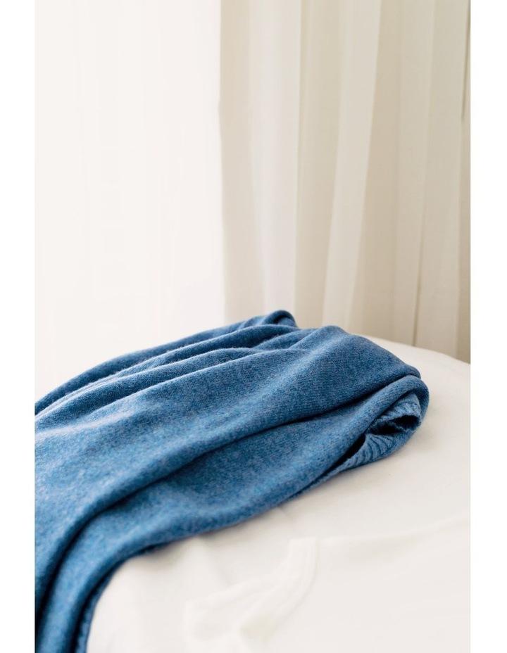 Cashmere Plain Knit Baby Blanket - Indigo image 2