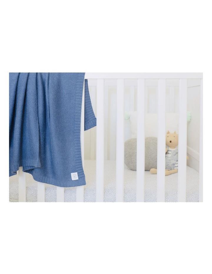 Cashmere Plain Knit Baby Blanket - Indigo image 3