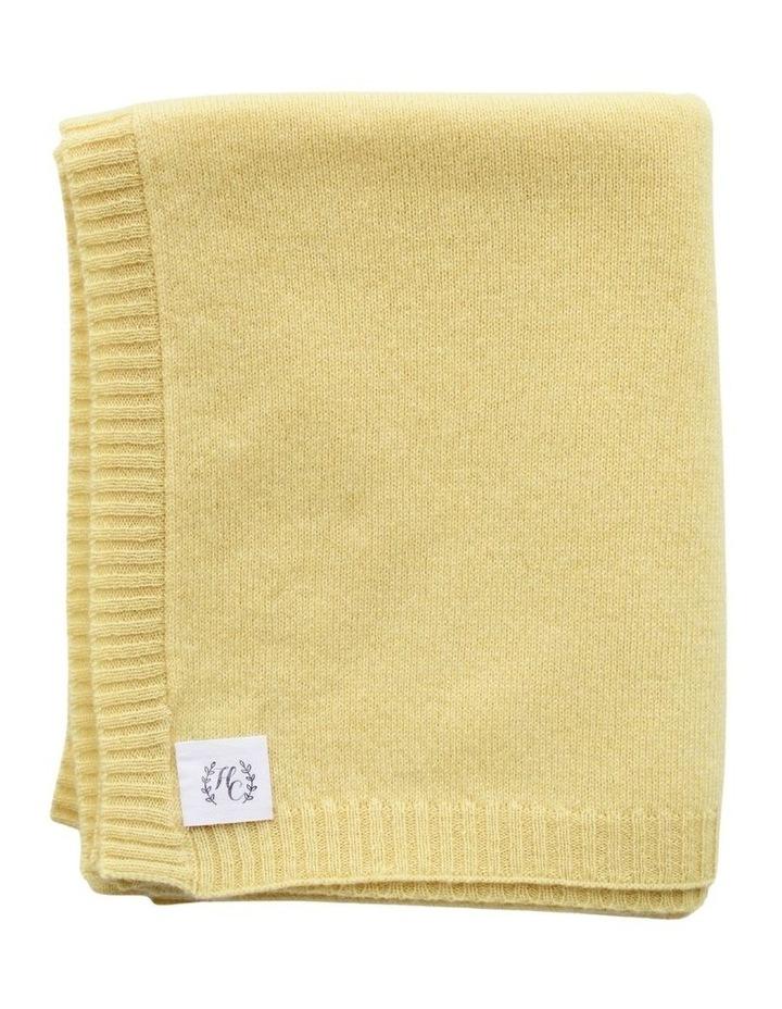 Cashmere Plain Knit Baby Blanket - Lemon image 1