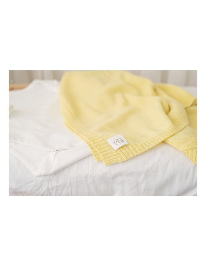 Cashmere Plain Knit Baby Blanket - Lemon image 2