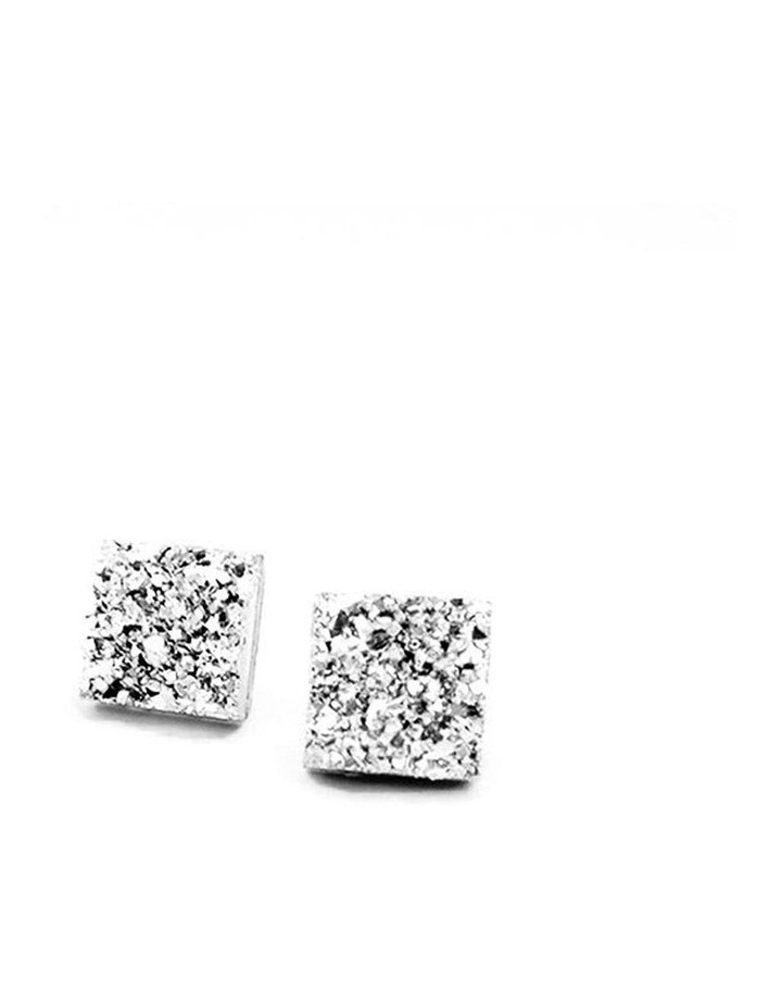 Faux Druzy Square Studs Silver image 1