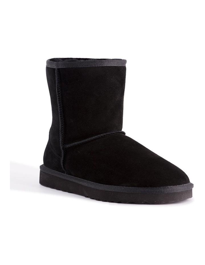 Mid Calf Zip-Up Sheepskin Boot - Black image 1