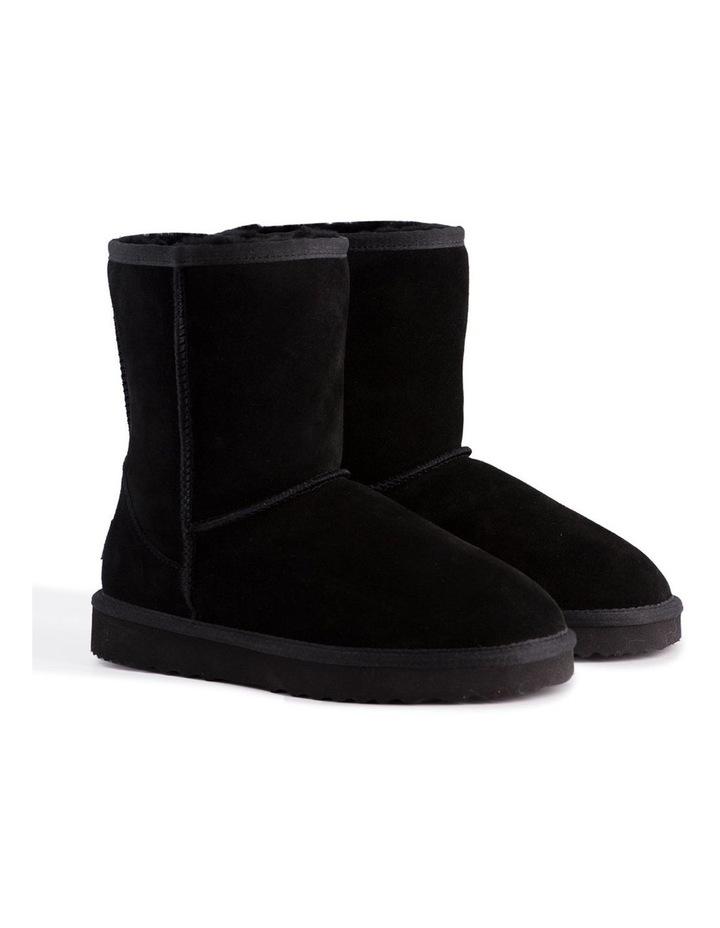 Mid Calf Zip-Up Sheepskin Boot - Black image 2