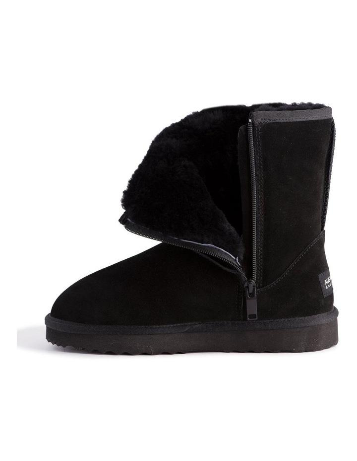 Mid Calf Zip-Up Sheepskin Boot - Black image 4