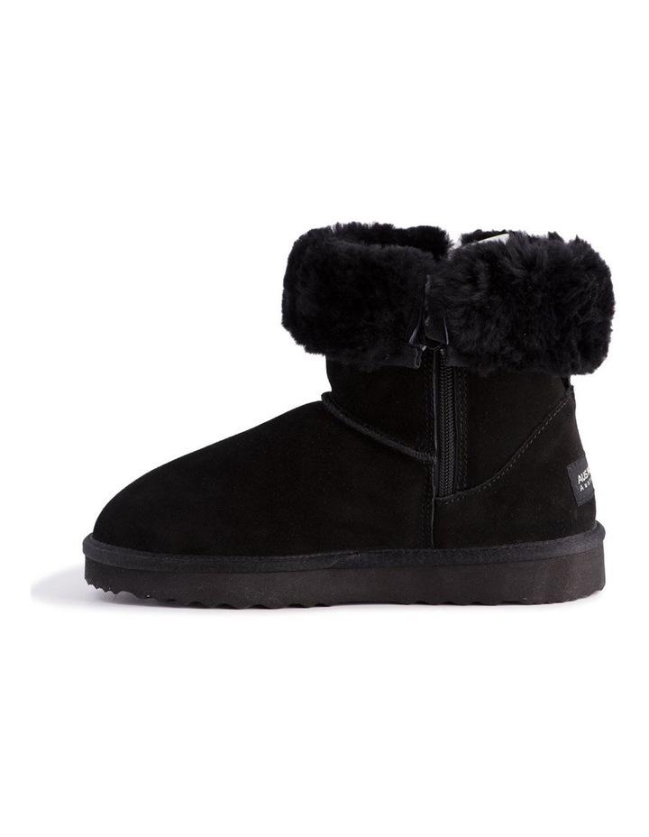Mid Calf Zip-Up Sheepskin Boot - Black image 5