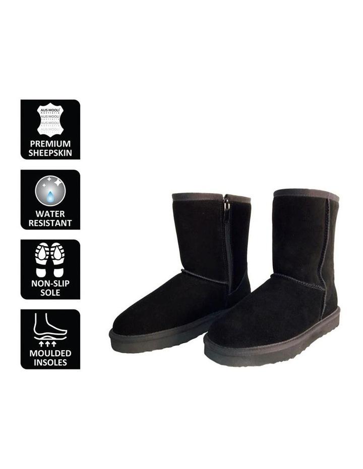 Mid Calf Zip-Up Sheepskin Boot - Black image 6