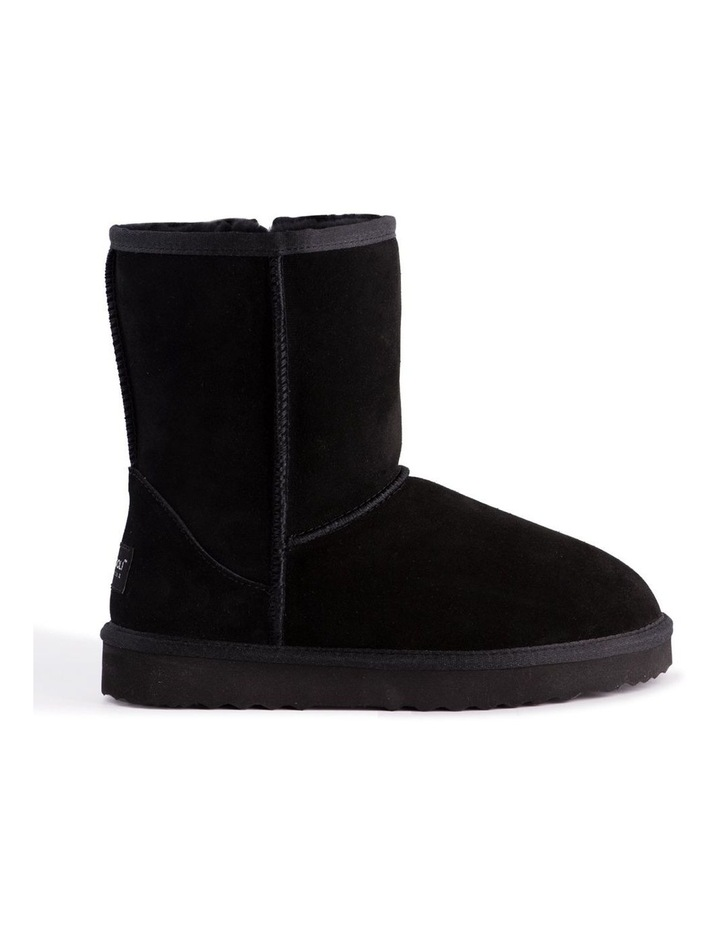 Mid Calf Zip-Up Sheepskin Boot - Black image 7