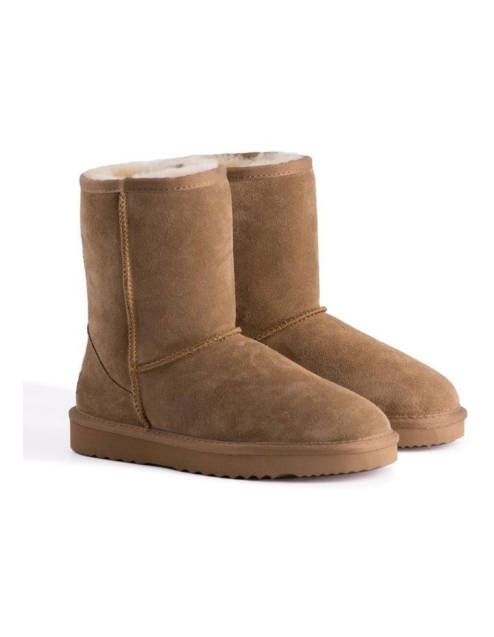 Mid Calf Zip-Up Sheepskin Boot - Chestnut/Tan image 2