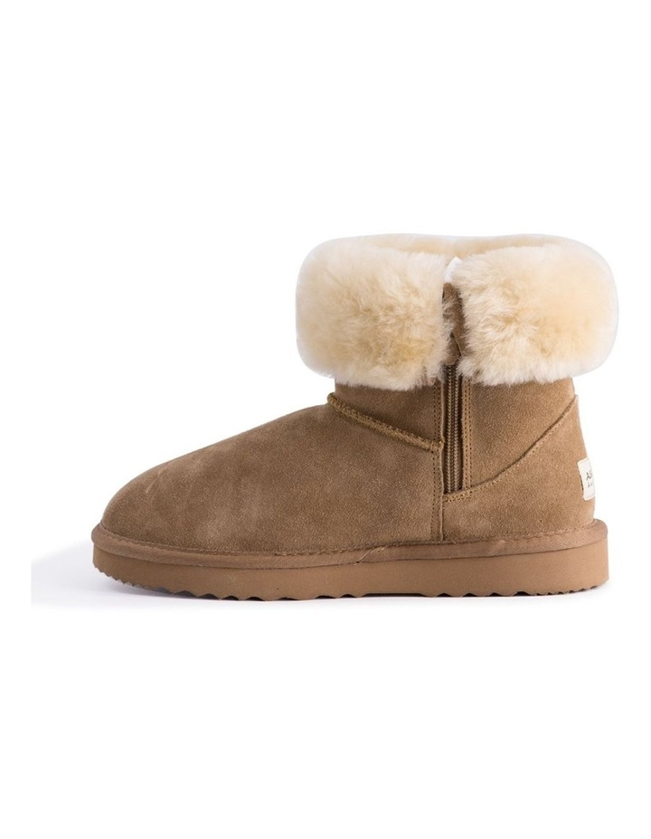Mid Calf Zip-Up Sheepskin Boot - Chestnut/Tan image 4
