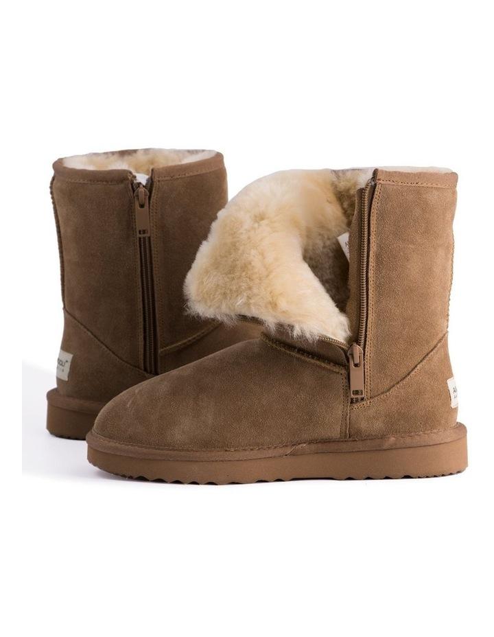 Mid Calf Zip-Up Sheepskin Boot - Chestnut/Tan image 5