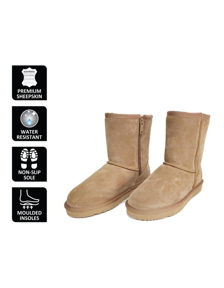 Mid Calf Zip-Up Sheepskin Boot - Chestnut/Tan image 6