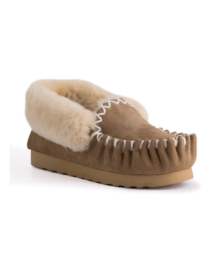 Hand Stitched Womens Sheepskin Moccasin - Chestnut/Tan image 1