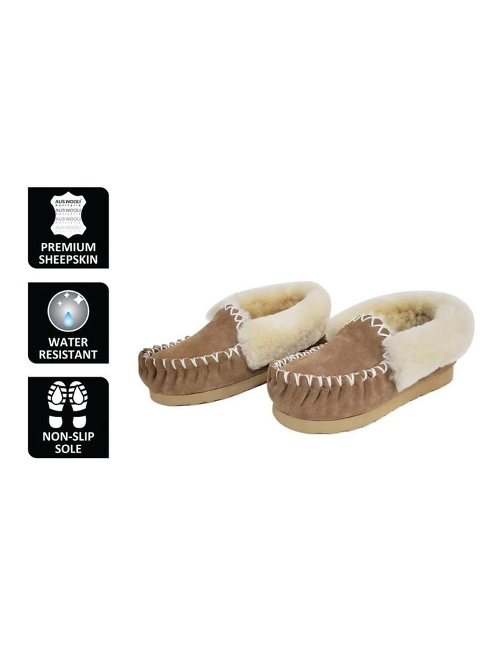 Hand Stitched Womens Sheepskin Moccasin - Chestnut/Tan image 2