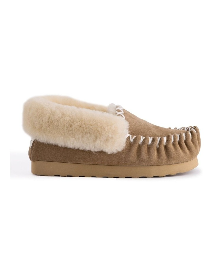 Hand Stitched Womens Sheepskin Moccasin - Chestnut/Tan image 3