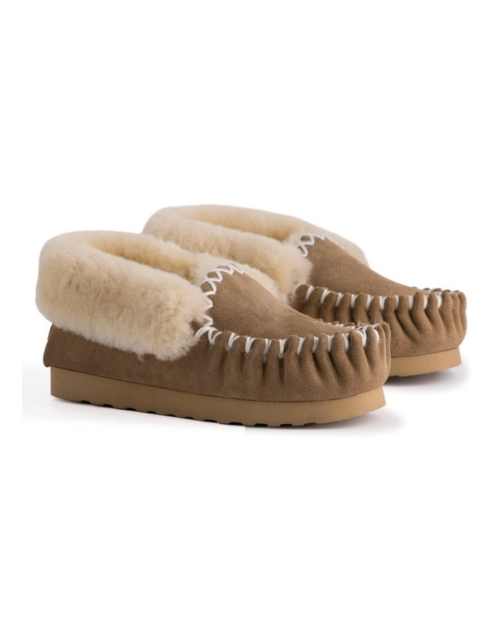 Hand Stitched Womens Sheepskin Moccasin - Chestnut/Tan image 7