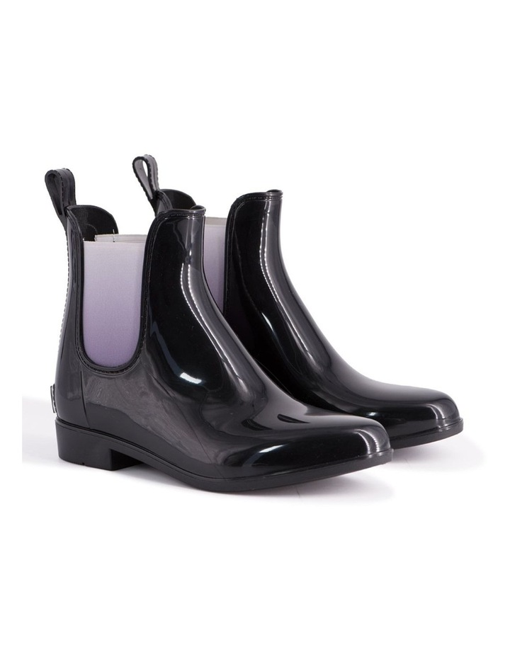 Womens Rainboots With Free Sheepskin Insole - Black/Grey image 6