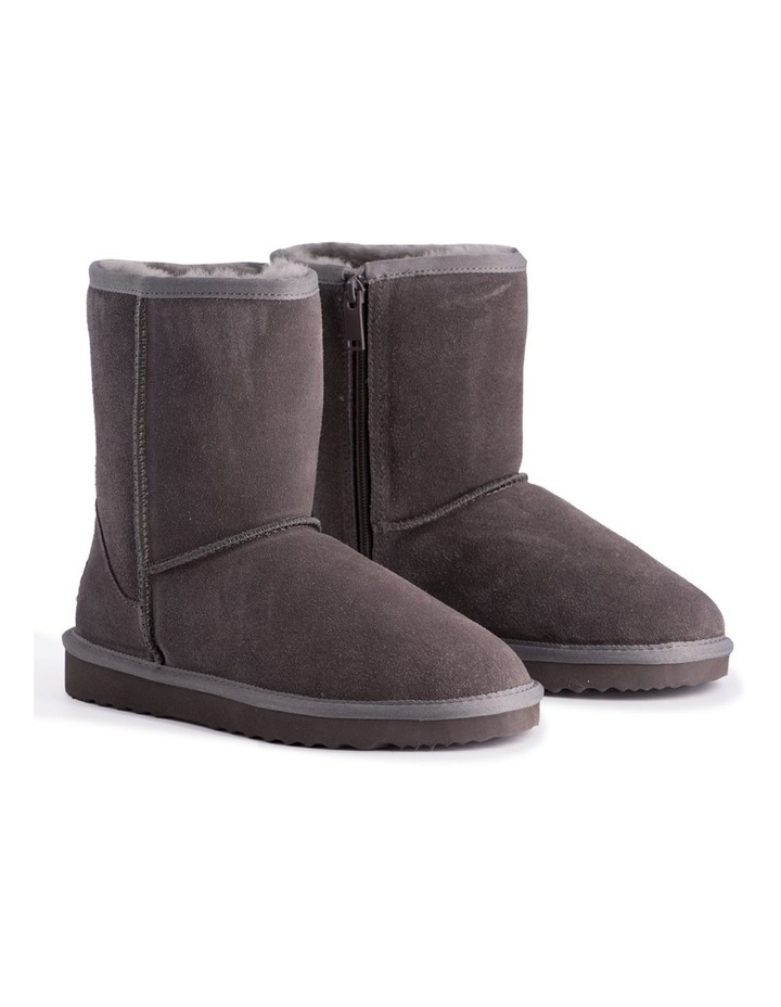 Mid Calf Zip-Up Sheepskin Boot - Grey image 2