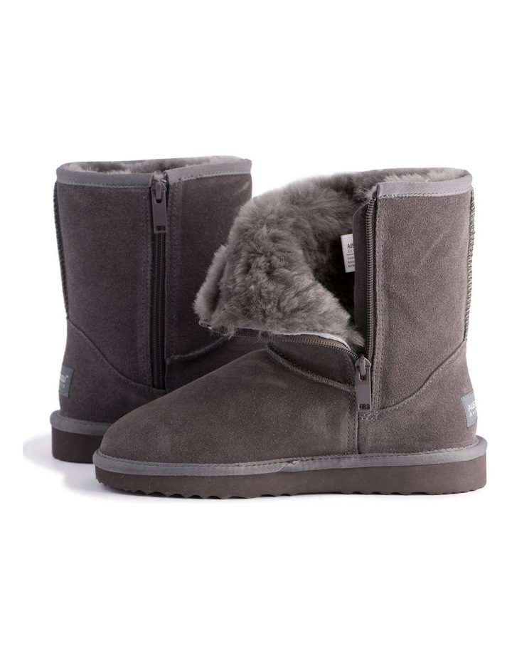 Mid Calf Zip-Up Sheepskin Boot - Grey image 5