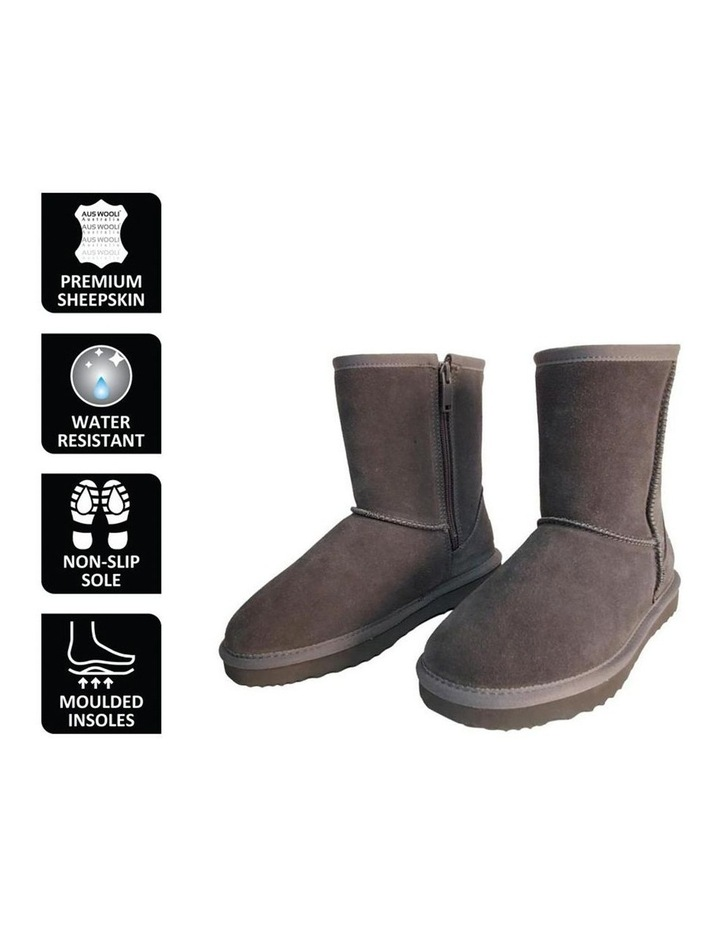 Mid Calf Zip-Up Sheepskin Boot - Grey image 6