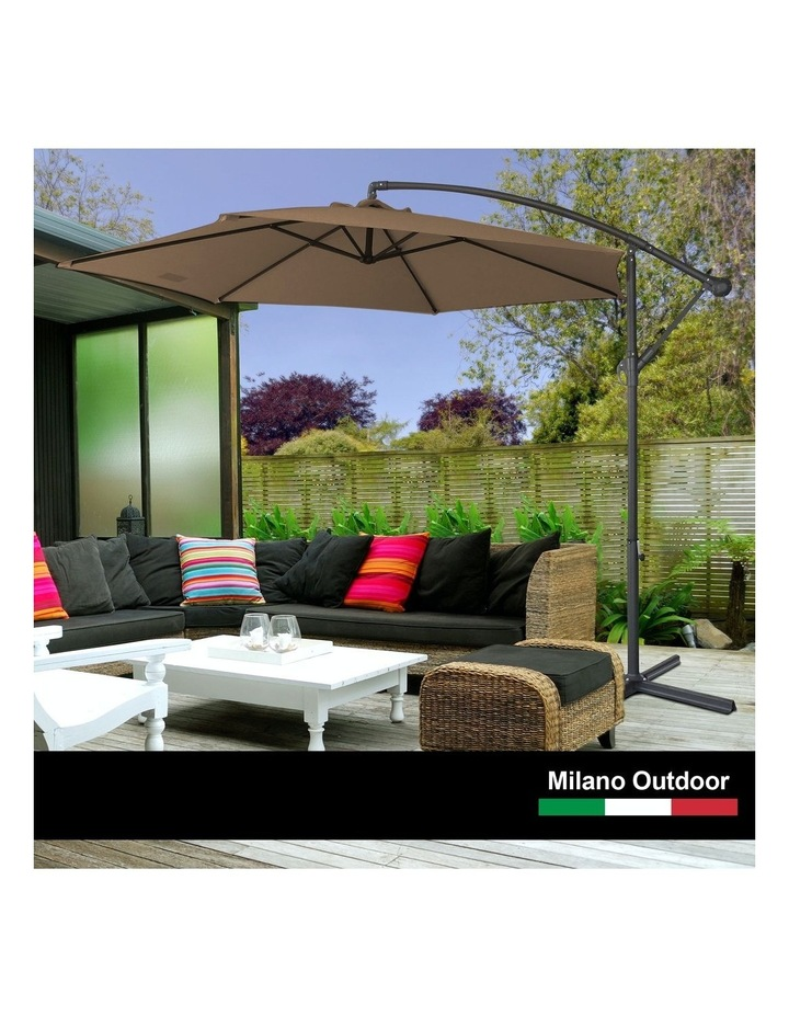 Milano Outdoor - Outdoor 3 Meter Hanging and Folding Umbrella - Latte image 3