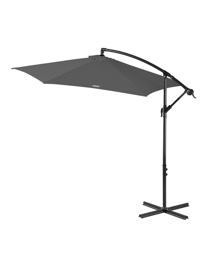 Outdoor 3 Metre Cantilever Umbrella (No Cover) - Charcoal image 1
