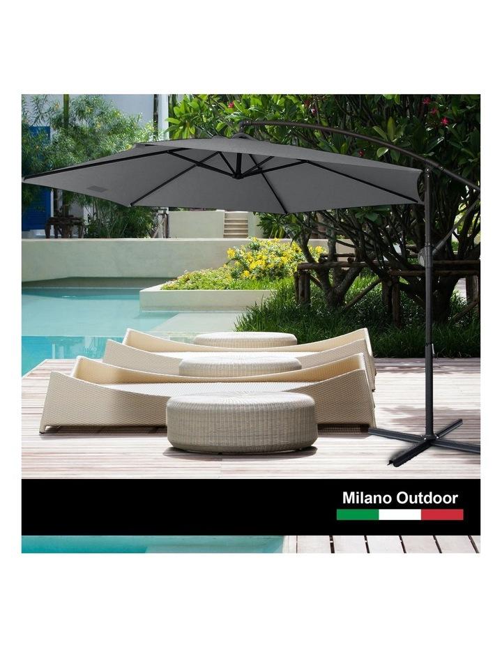 Outdoor 3 Metre Cantilever Umbrella (No Cover) - Charcoal image 2