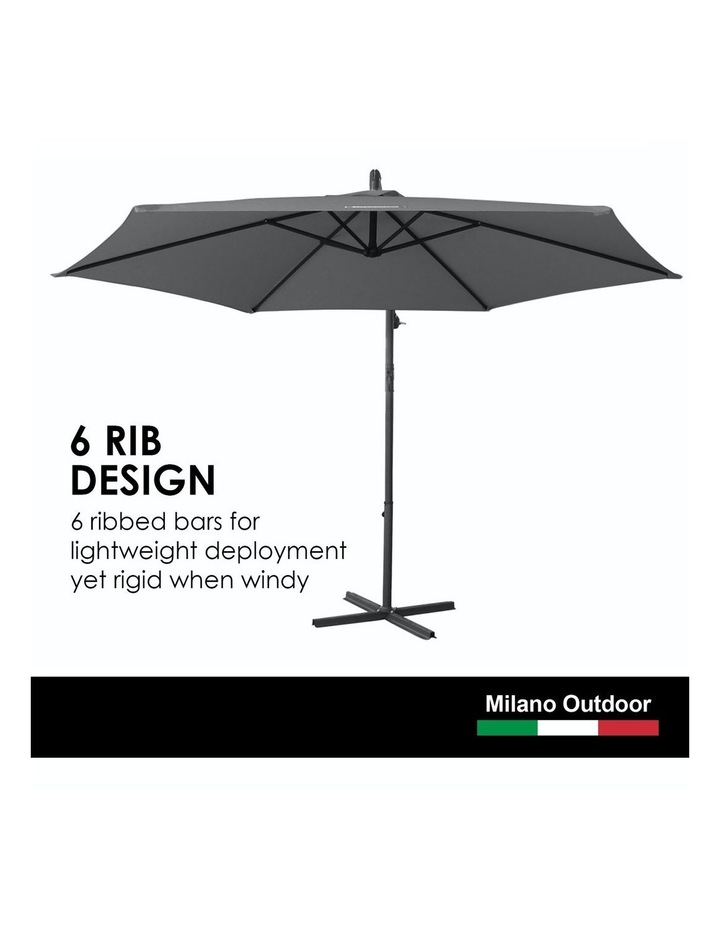 Outdoor 3 Metre Cantilever Umbrella (No Cover) - Charcoal image 4
