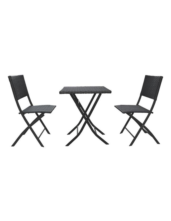 Arcadia Furniture 3 Piece Folding Rattan Coffee Set - Black image 1