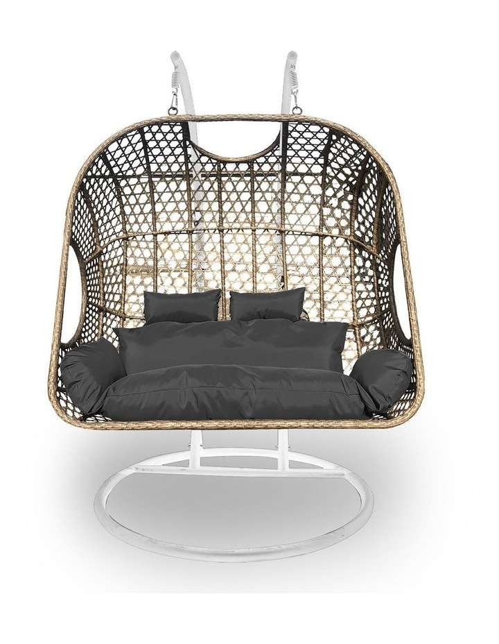 2 Seater Rocking Egg Chair - Oatmeal and Grey image 1