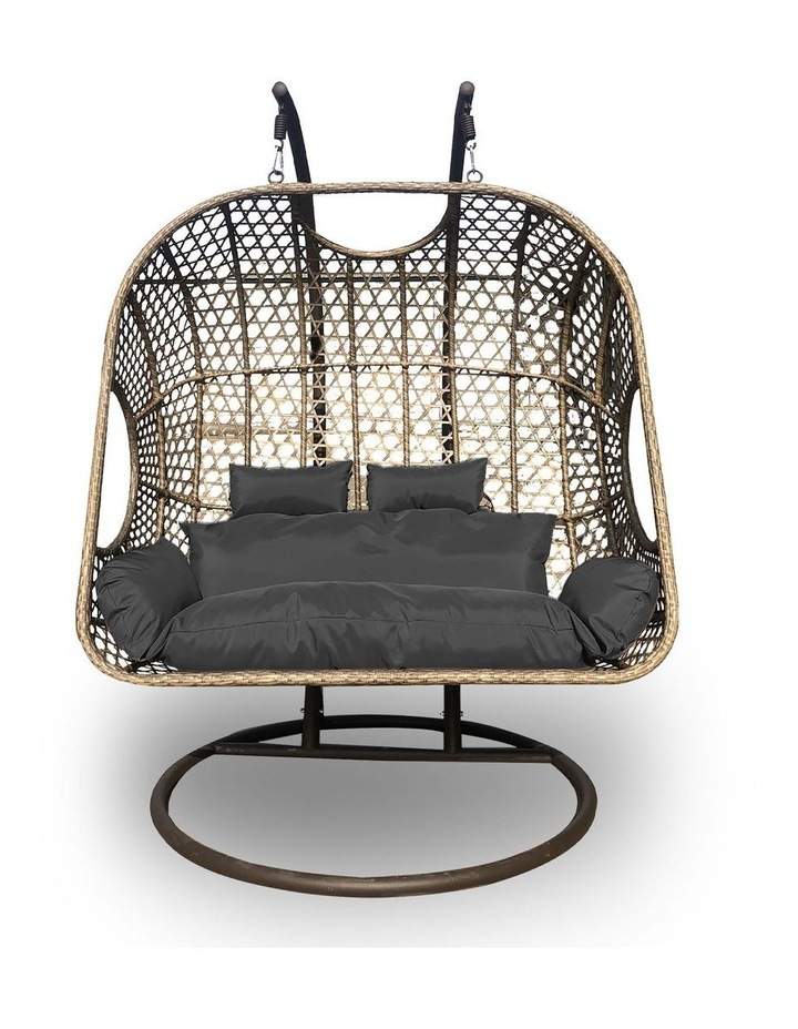 2 Seater Rocking Egg Chair - Brown and Grey image 1