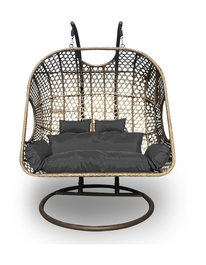 2 Seater Rocking Egg Chair - Brown and Grey image 3