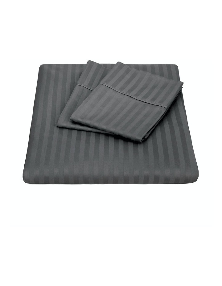 1200 Thread Count 100% Egyptian Cotton Sheet Set Stripe Hotel Grade In Charcoal image 1