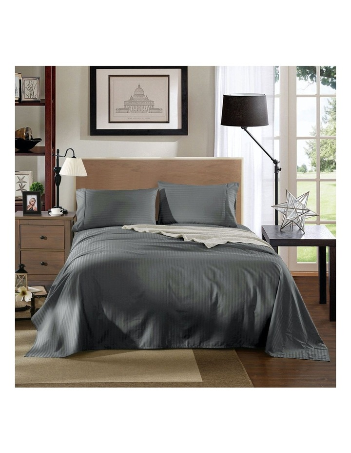 1200 Thread Count 100% Egyptian Cotton Sheet Set Stripe Hotel Grade In Charcoal image 2