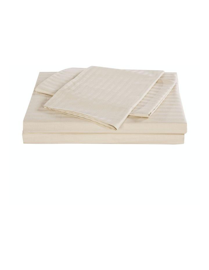 1200 Thread Count 100% Egyptian Cotton Sheet Set Stripe Hotel Grade Queen Sand image 1