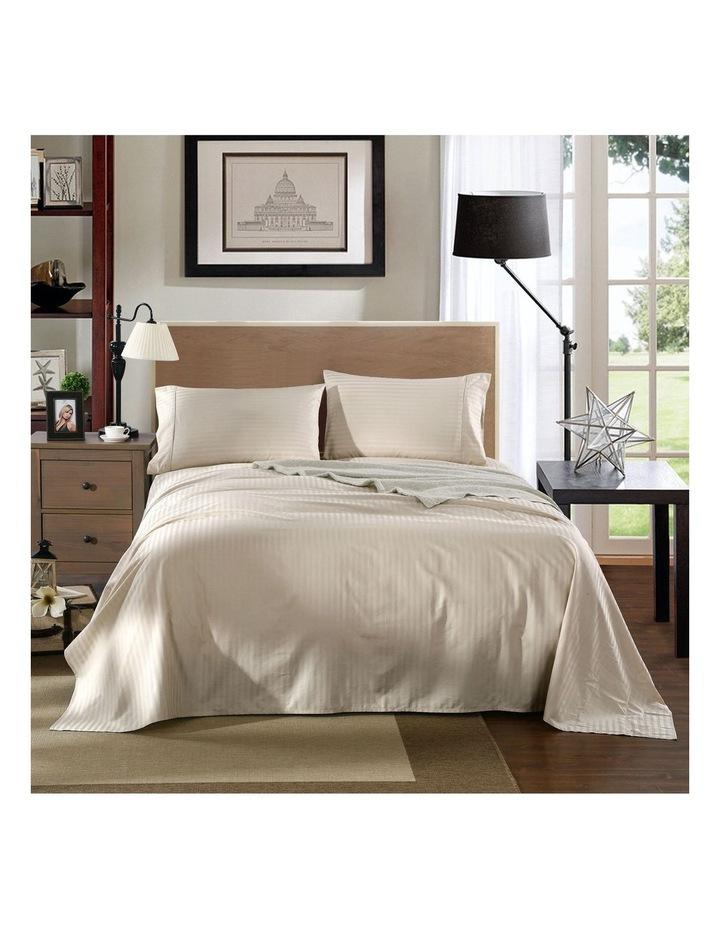 1200 Thread Count 100% Egyptian Cotton Sheet Set Stripe Hotel Grade Queen Sand image 2