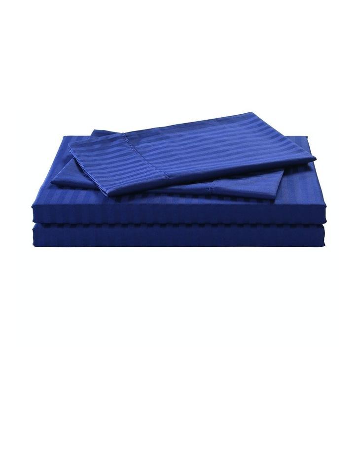 Kensington 1200 Thread Count 100% Egyptian Cotton Sheet Set Stripe Hotel Grade - Indigo Double image 1