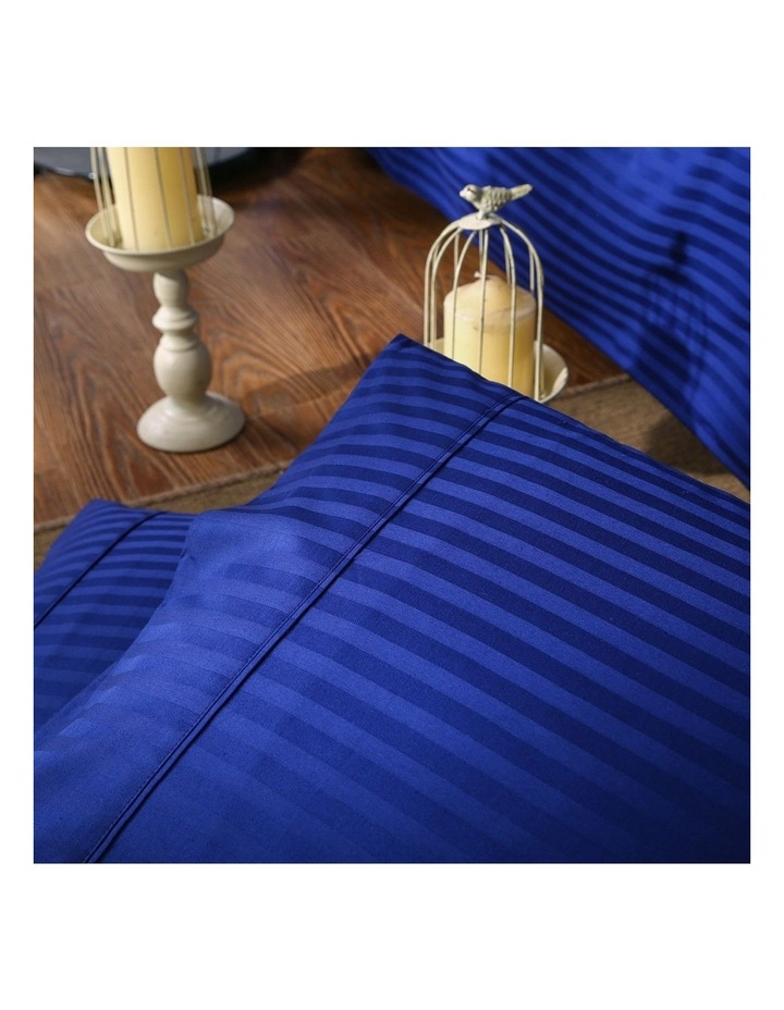 Kensington 1200 Thread Count 100% Egyptian Cotton Sheet Set Stripe Hotel Grade - Indigo Double image 4