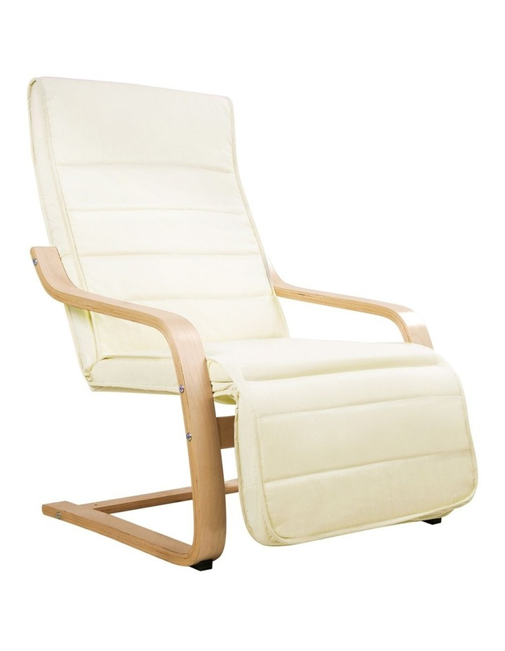 Fabric Rocking Armchair with Adjustable Footrest - Beige image 1