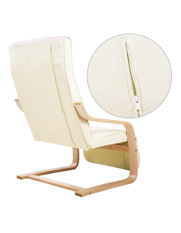 Fabric Rocking Armchair with Adjustable Footrest - Beige image 3