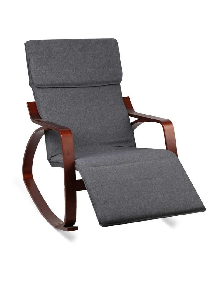 Fabric Rocking Armchair with Adjustable Footrest - Charcoal image 1