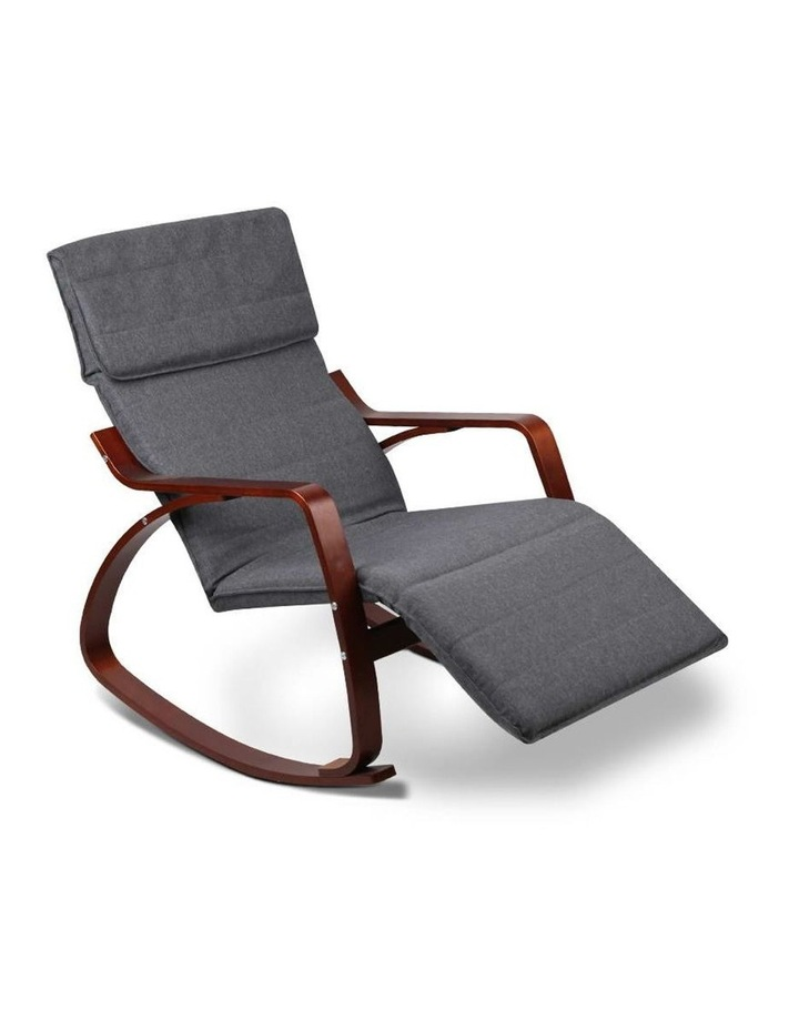 Fabric Rocking Armchair with Adjustable Footrest - Charcoal image 3