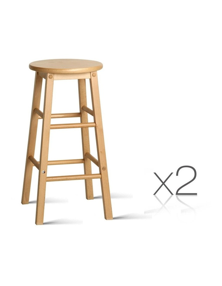 Set Of 2 Beech Wood Backless Bar Stools image 1