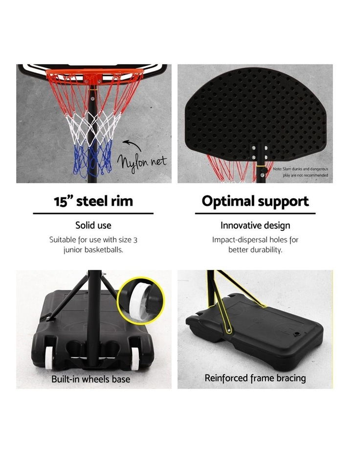Everfit Pro Portable Basketball Stand System Hoop Height Adjustable Net Ring BK image 5