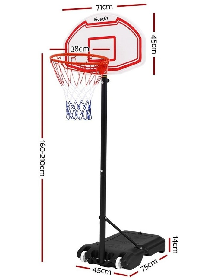 Everfit Pro Portable Basketball Stand System Hoop Height Adjustable Net Ring WH image 2