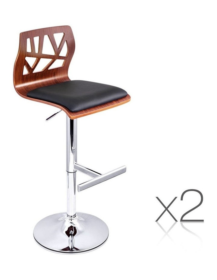 Set Of 2 Wooden Gas Lift  Bar Stools image 1